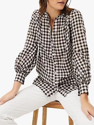 Phase Eight Lillia Check Shirt, Chocolate/Ivory