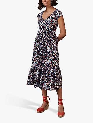 Boden Floral Print Voop Tiered Dress, Navy/Multi