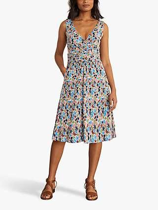 Boden Effie Palm Leaf Print Jersey Wrap Dress