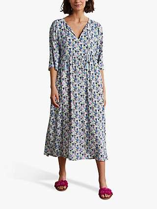 Boden Empire Floral Print Midi Dress