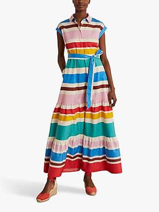 Boden Betty Colourblock Stripe Shirt Dress, Multi