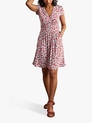 Boden Lola Palm Print Jersey Dress, Red/Surf