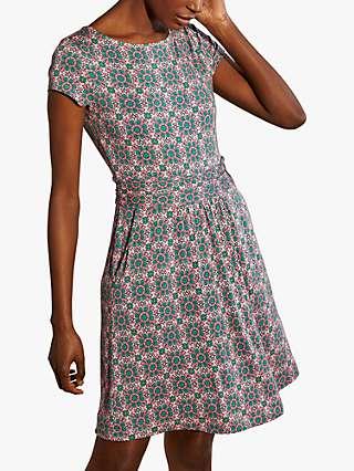 Boden Amelie Jersey Floral Knee Length Dress, Milkshake/Tile