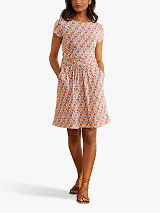 Boden Amelie Jersey Floral Knee Length Dress, Ivory/Palm