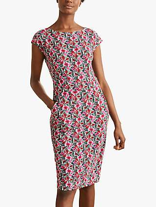 Boden Florrie Floral Print Jersey Dress, Ivory/Multi