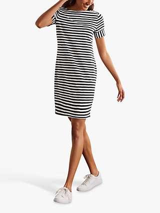 Boden Darcey Jersey Stripe Mini Dress, Ivory/Navy