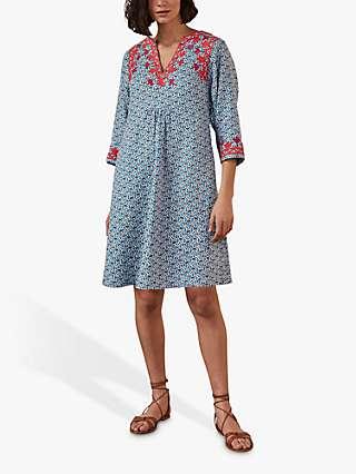 Boden Linen Embroidered Paisley Dress, Blue