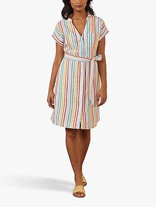 Boden Evie Striped Linen Shirt Dress, Multi