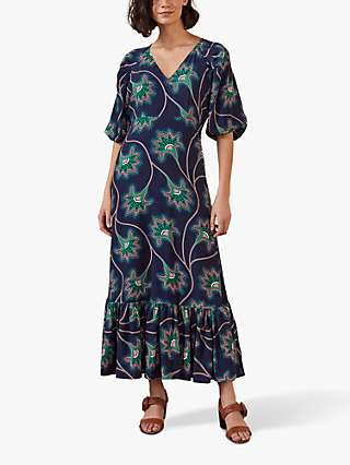 Boden Claire Floral Tiered Hem Maxi Dress, Navy