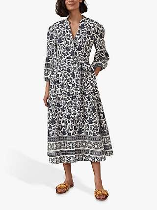 Boden Addie Meadow Flight Print Midi Dress, Multi