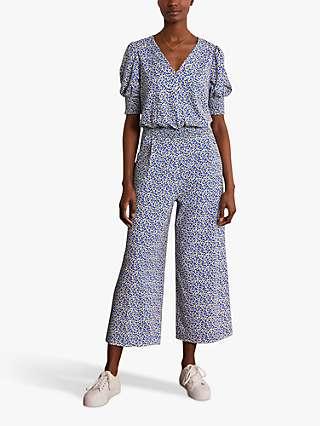 Boden Estella Floral Jersey Jumpsuit, Blue/Multi