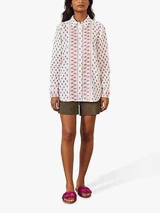 Boden Paisley Pattern Print Linen Shirt, Ivory