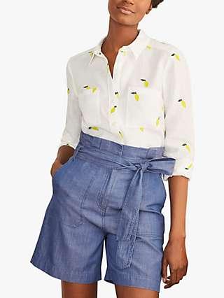 Boden Embroidered Lemon Linen Shirt, White/Multi