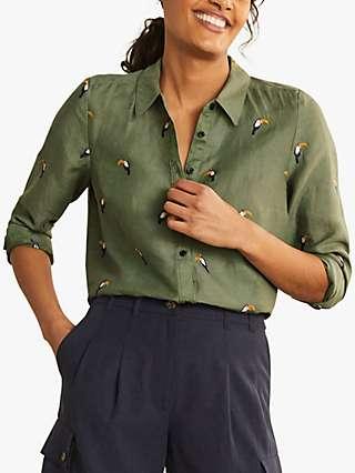 Boden Embroidered Toucan Linen Top, Alder