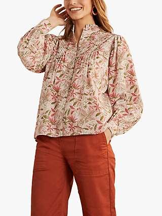 Boden Miranda Floral Print Pintuck Top, Milkshake