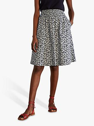 Boden Georgia Palm Leaf Print Skirt, French Navy