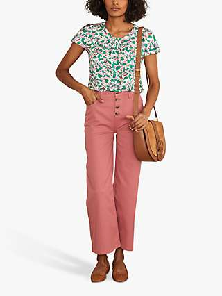 Boden Florence Floral Top, Ivory/Orchard