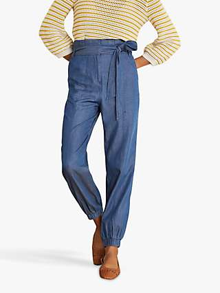 Boden Elgin Cuffed Trousers, Chambray