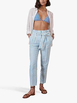 Boden Ludgate Stripe Trousers, Moroccan Blue