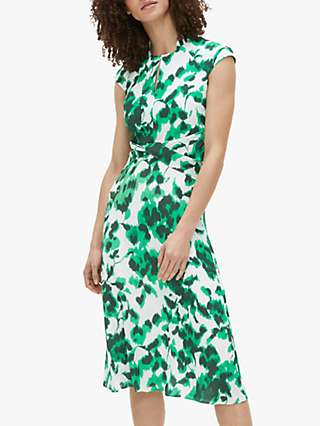 The Fold Hampstead Abstract Rose Print Dress, Green