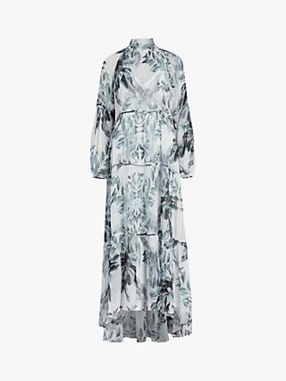 AllSaints Eimear Tiered Floral Print Dress, White