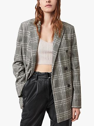 AllSaints Astrid Double Breasted Check Blazer, Black/White