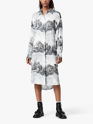 AllSaints Eleanor Landscape Print Shirt Dress, White
