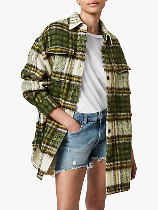 AllSaints Sophie Check Jacket, Green/Ecru
