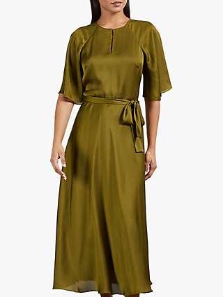 Ted Baker Hariiet Tie Waist Tea Dress, Khaki