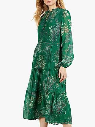 Ted Baker Serendipity Print Pleated Midi Dress, Green