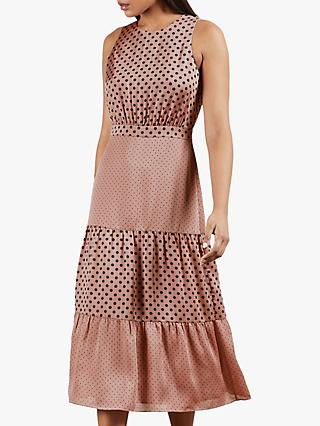 Ted Baker Izzie Polka Dot Tiered Midi Dress, Dusty Pink