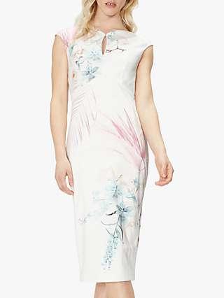 Ted Baker Soozie Floral Knee Length Dress, Cream