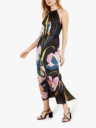 Ted Baker Piana Floral Print Halterneck Midi Dress, Black