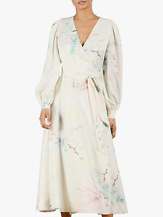 Ted Baker Flosssi Floral Print Wrap Dress, Cream