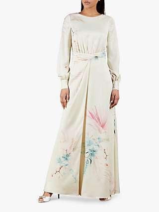 Ted Baker Rioni Floral Print Twist Waist Maxi Dress, Cream