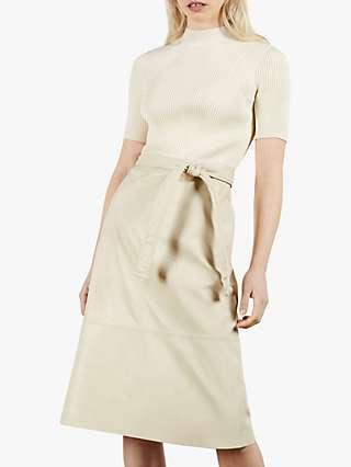 Ted Baker Susanna Pleather Midi Dress, Cream