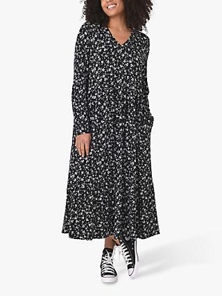 Live Unlimited Curve Ditsy Print Jersey Dress, Black/White