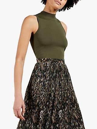 Ted Baker Lemmie Pleated Midi Dress, Khaki