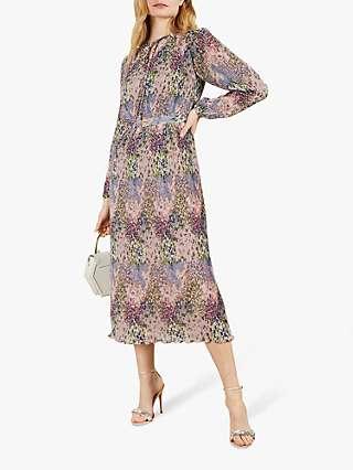 Ted Baker Flosii Ditsy Print Pleated Midi Dress, Light Pink