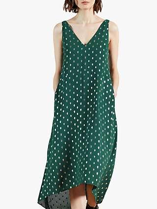 Ted Baker Printaa Waterfall Midi Dress, Mid Green