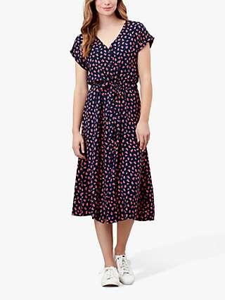 Joules Yasmine Fruit Print Midi Dress, Navy Strawberry