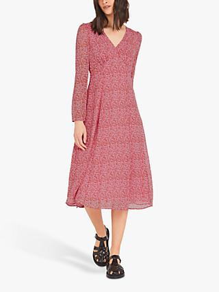 Finery Hanna Floral Print Dress, Pink/Scatter Ditsy