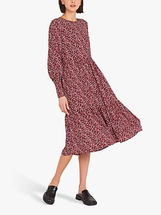 Finery Bella Floral Print Tiered Midi Dress, Red/Retro Ditsy