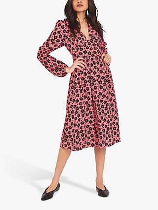 Finery Inez Floral Print Puff Sleeve Dress, Coral
