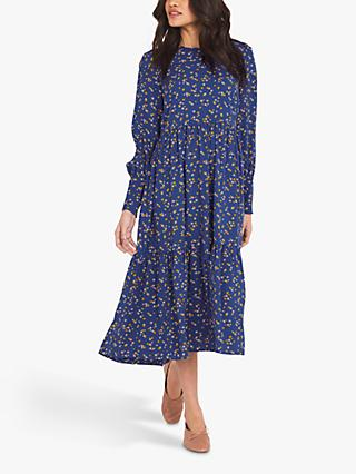 Finery Bella Floral Print Tiered Midi Dress, Blue/Floral Stems