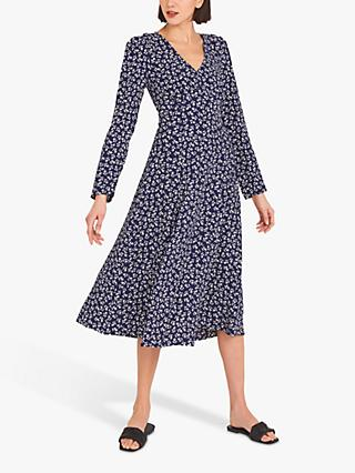 Finery Molly Leaf Print Flared Dress, Navy