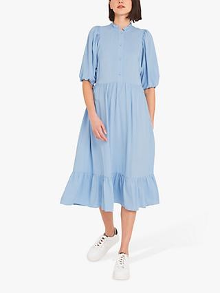 Finery Kyra Crepe Ruffle Neck Midi Dress, Light Blue