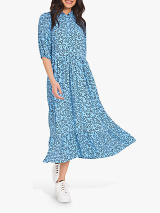 Finery Kyra Crepe Ruffle Neck Midi Dress, Blue/Circle Hearts