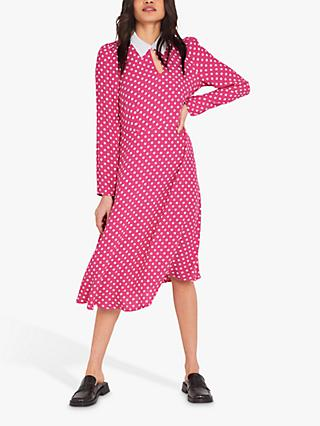 Finery Julieta Polka Dot Collared Dress, Pink/Ivory