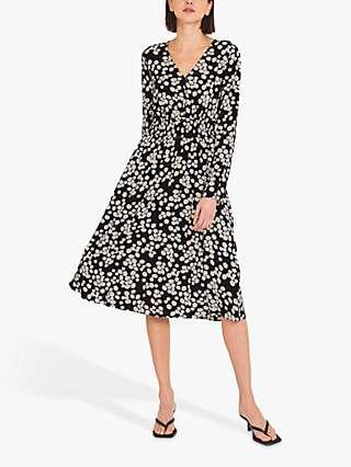 Finery Quinn Floral Print Dress, Black/Yellow Daisies
